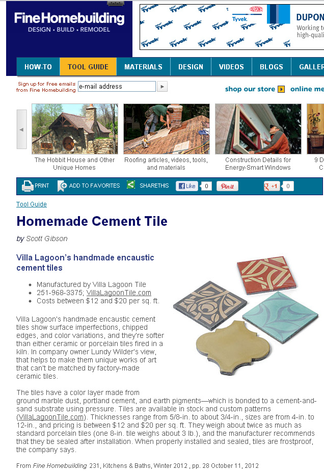Fine Homebuilding Magazine on Cement Tile