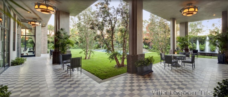 Outdoor terraces in Los Angeles Calif with checkerboard tiles