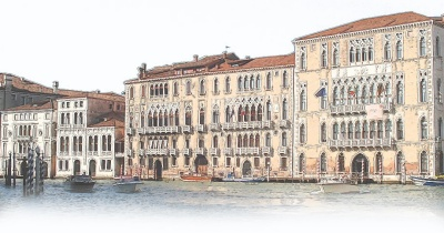 A stylized image of a Venetian canal scene.