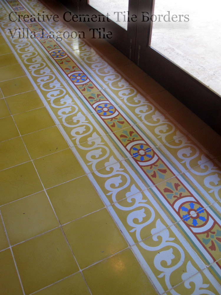 cement tile borders around the edge of a room
