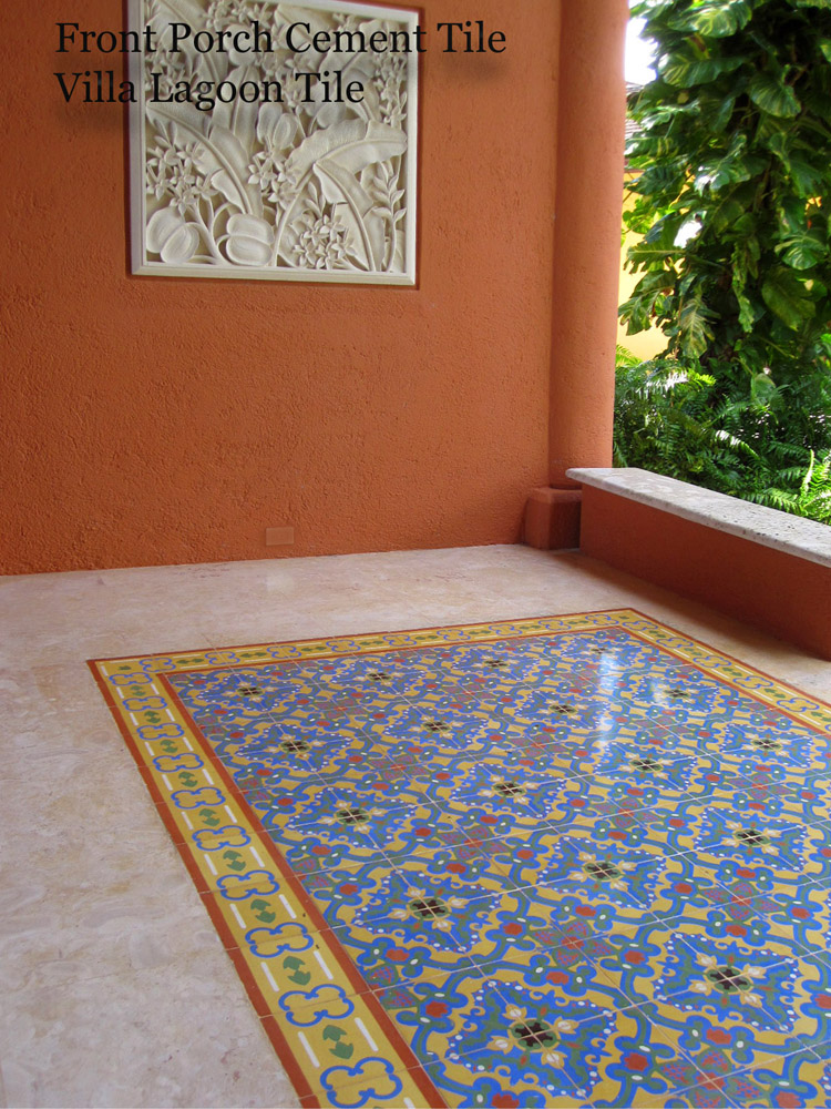 Cement tile rug on a porch