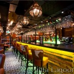 Trapani Midnight Floor with Trellis Shell Border along the bar of Fazenda, Liverpool.