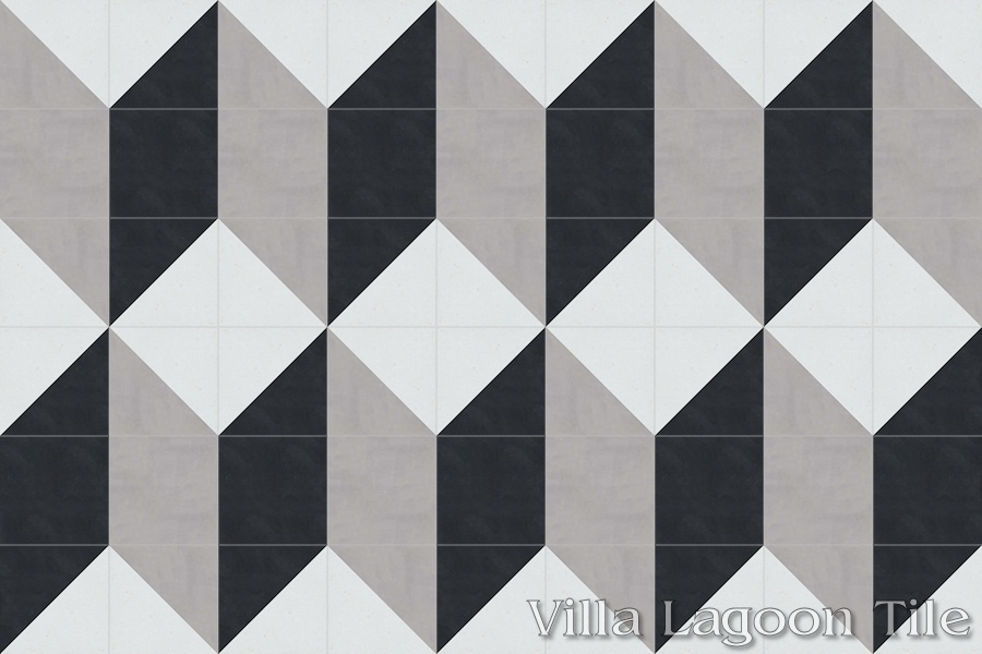 A 9x6 layout of cement tile, resembling an enlarged Cubes pattern tile.