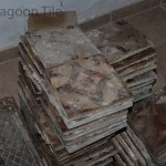 stacks of reclaimed encaustic tile