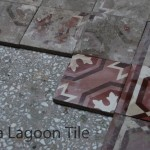 a washed cement tile next to the salvage ones
