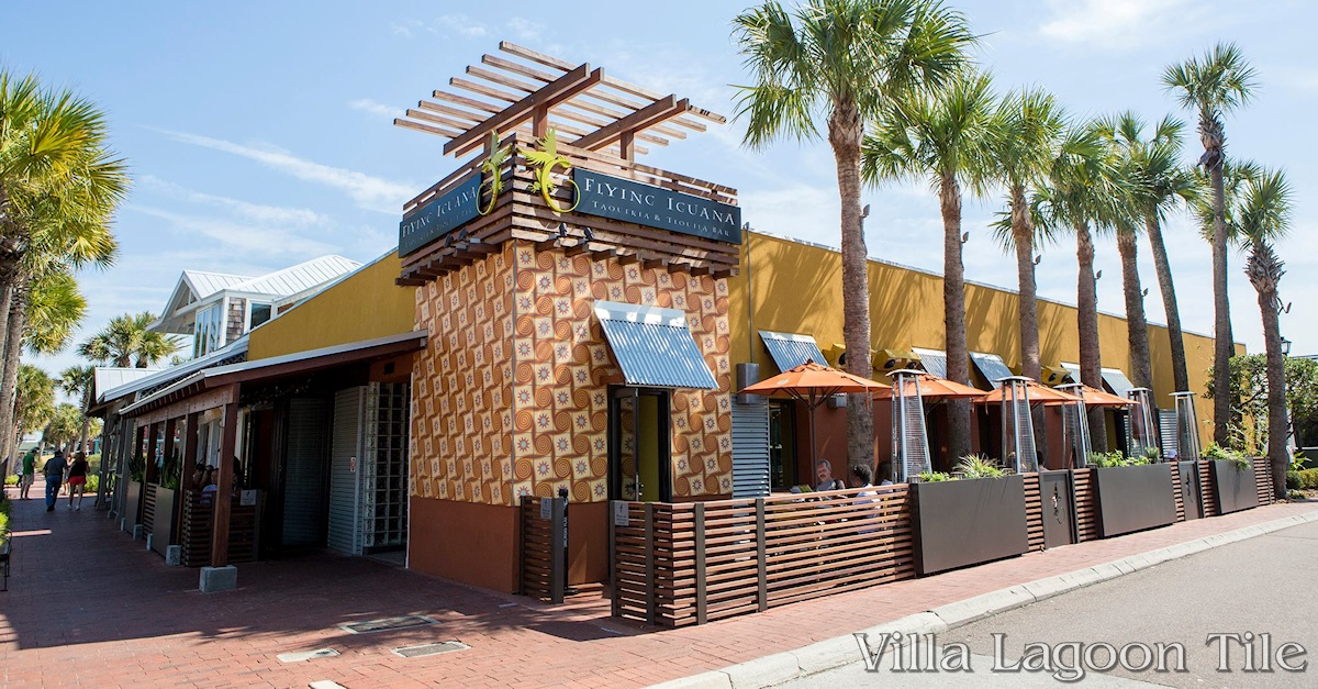"The exterior of the Flying Iguana restaurant featuring a facade of 10"" Tradewinds pattern cement tile, a Villa Lagoon Tile exclusive design."