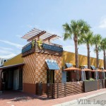 """The exterior of the Flying Iguana restaurant featuring a facade of 10"""" Tradewinds pattern cement tile, a Villa Lagoon Tile exclusive design."""