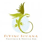 A logo of a stylized iguana with wings, representing the Flying Iguana Taqueria & Tequila Bar of Neptune Beach, FL