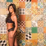 Miss Jacksonville USA 2015, Sarah Rogers, in a photo-shoot against a wall of patchwork tile from Villa Lagoon Tile.