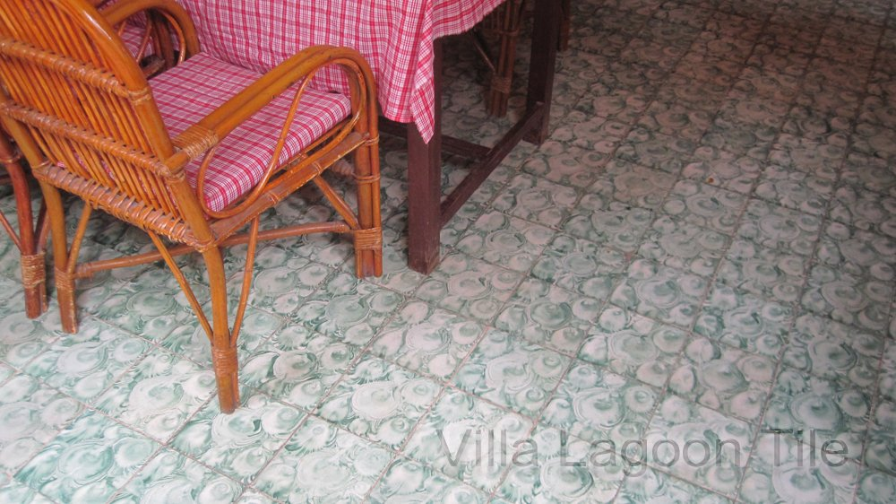 Antique cement tile floors in a Cambodian cafe