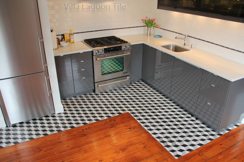 Cubes cement tile floor in a modern contemporary  kitchen in New York