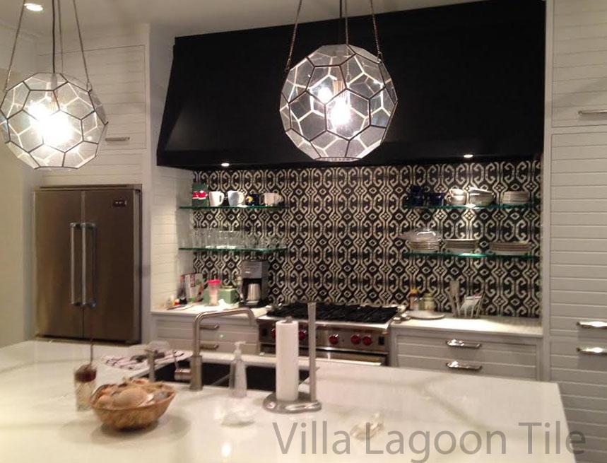 Phillip Sides Ikat Tile Backsplash Vlt Used Our Black And White