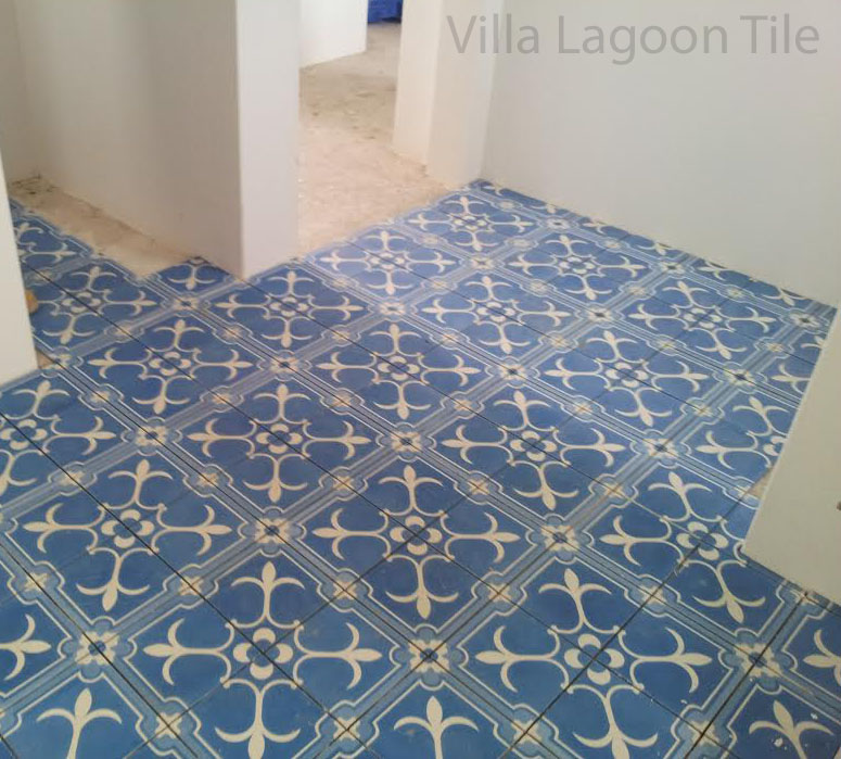 A beautiful bathroom renovation with cement tile from Villa Lagoon Tile.