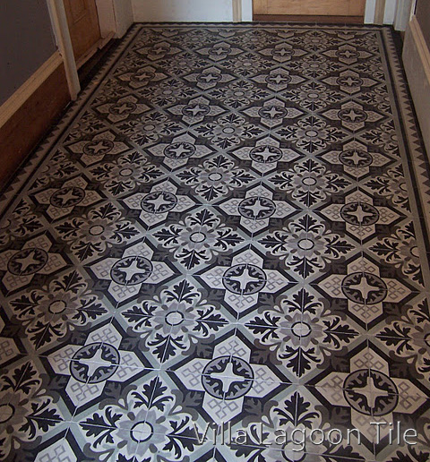 Nuevo Castillo encaustic cement tile foyer installation. By Villa Lagoon Tile.