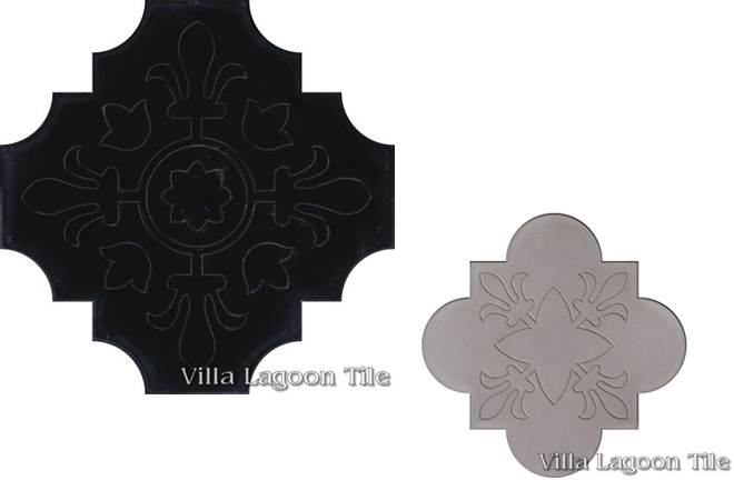 Photo-scans of Florentine shaped cement tiles, in Black and Featherstone, from Villa Lagoon Tile