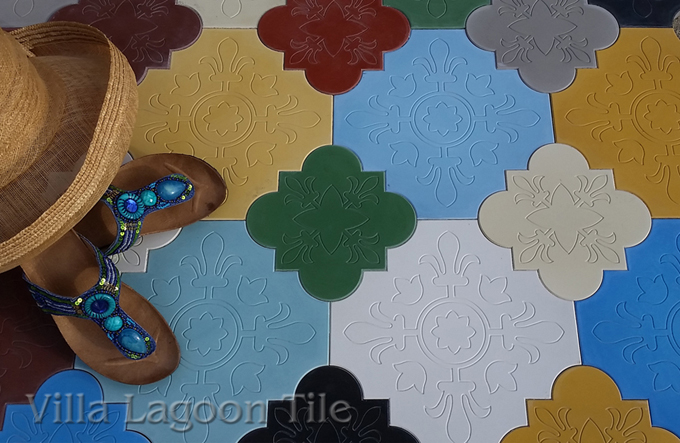 Colorful Florentine Shaped cement tile from Villa Lagoon Tile
