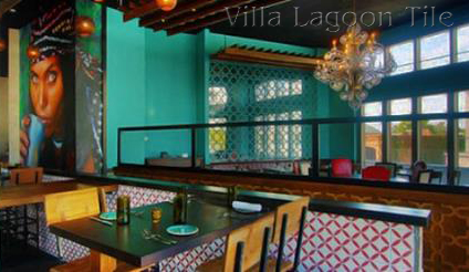 """Gypsy Kitchen in Atlanta, with """"Circulos"""" cement tile from Villa Lagoon Tile"""