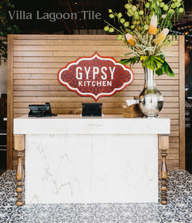 Gypsy Kitchen in Atlanta, with cement tile from Villa Lagoon Tile