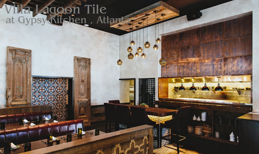Gypsy Kitchen, Atlanta, with accents of cement tile from Villa Lagoon Tile.