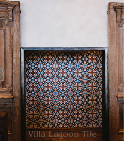 """An accent wall in Gypsy Kitchen, Atlanta, featuring """"Vienna"""" cement tile from Villa Lagoon Tile."""
