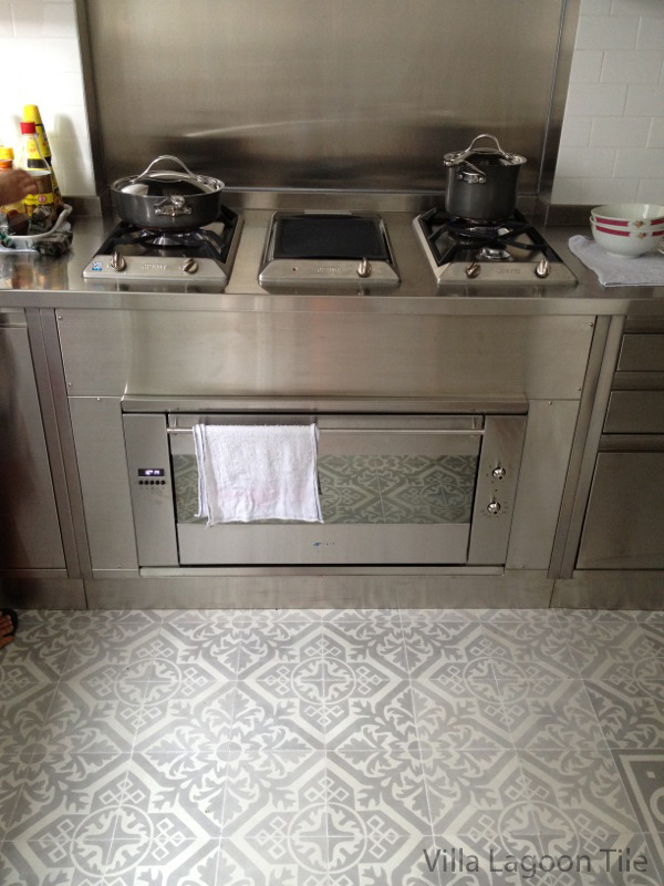 Nuevo Castillo encaustic cement tile Hong Kong kitchen installation. By Villa Lagoon Tile.