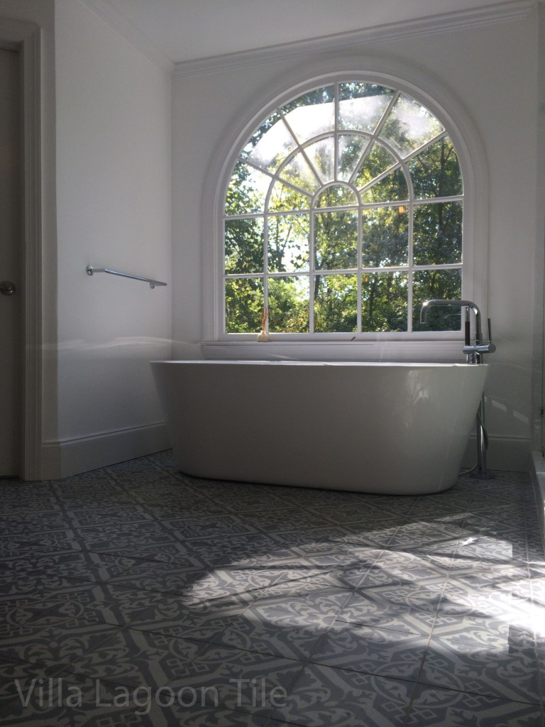 Nuevo Castillo encaustic cement tile Atlanta bathroom installation. By Villa Lagoon Tile.