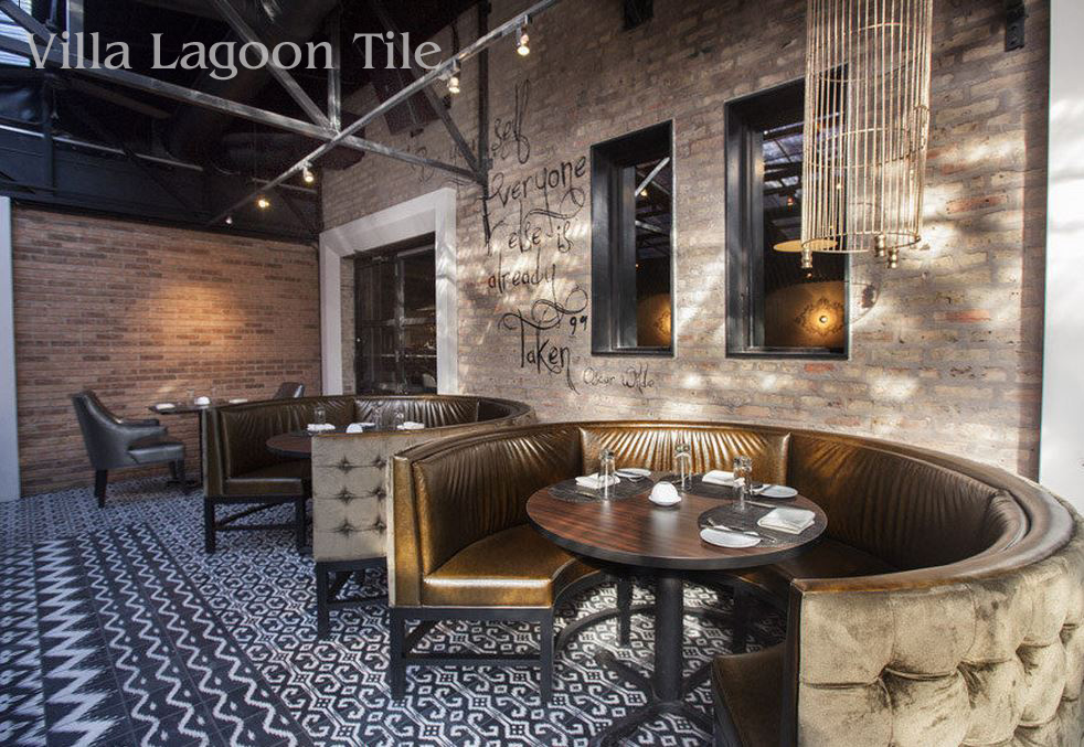 Boka Restaurant Chicago, featuring Ikat cement tile from Villa Lagoon Tile