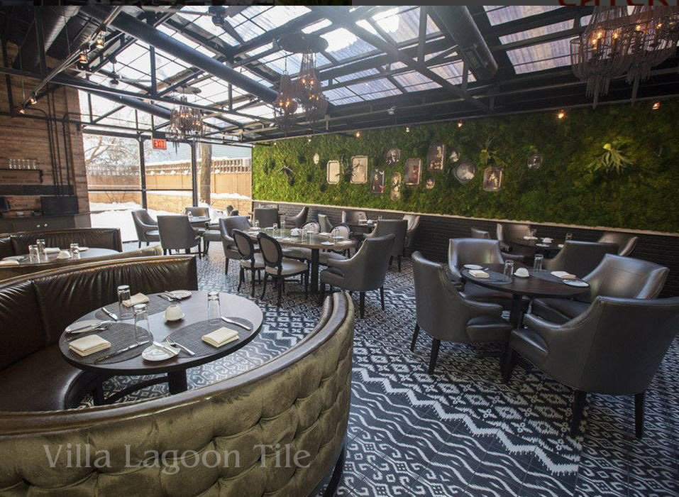 boka restaurant chicago featuring ikat cement tile from villa lagoon tile