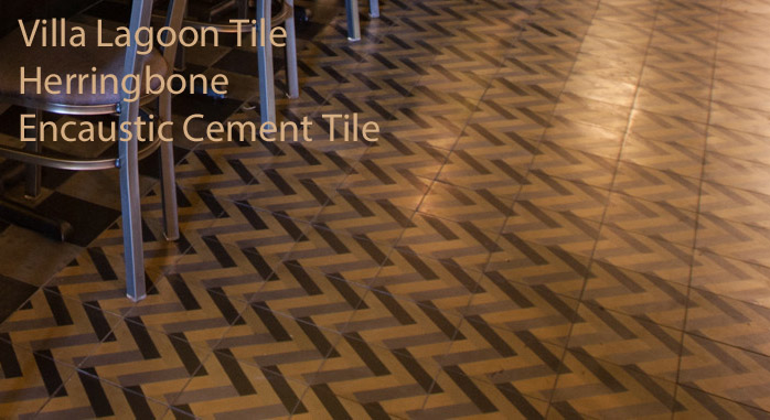 Close up of Villa Lagoon Tile Herringbone cement tile