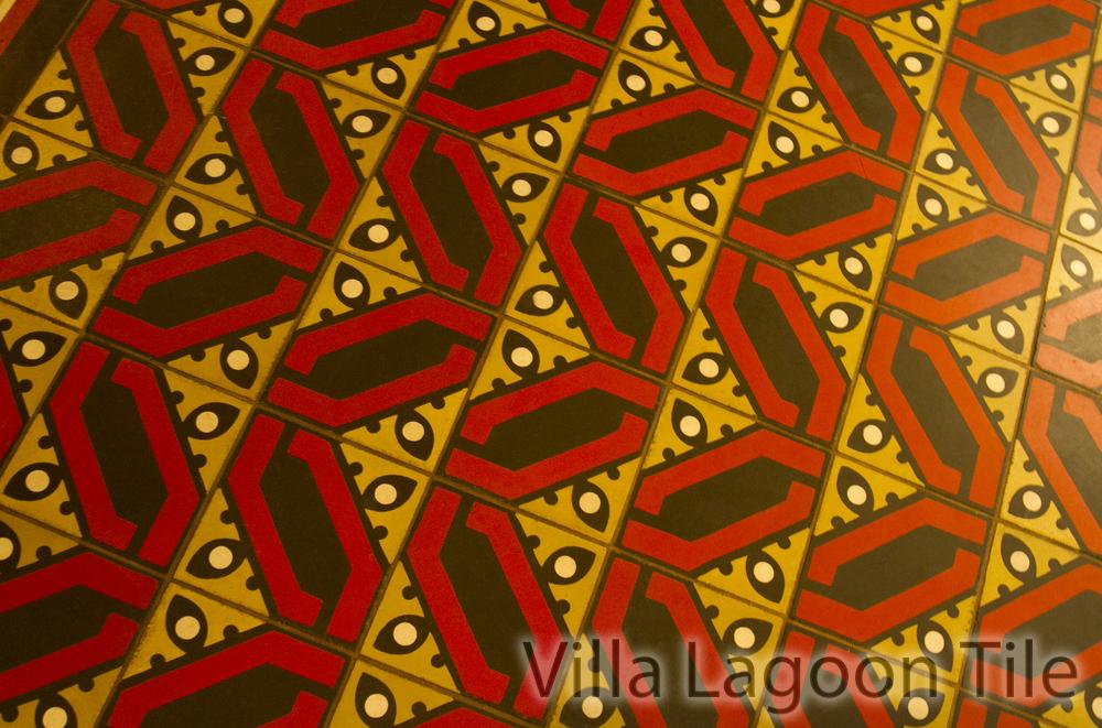 Villa Lagoon Tile custom cement tile at Fairmont Copley Hotel Oak Long Bar