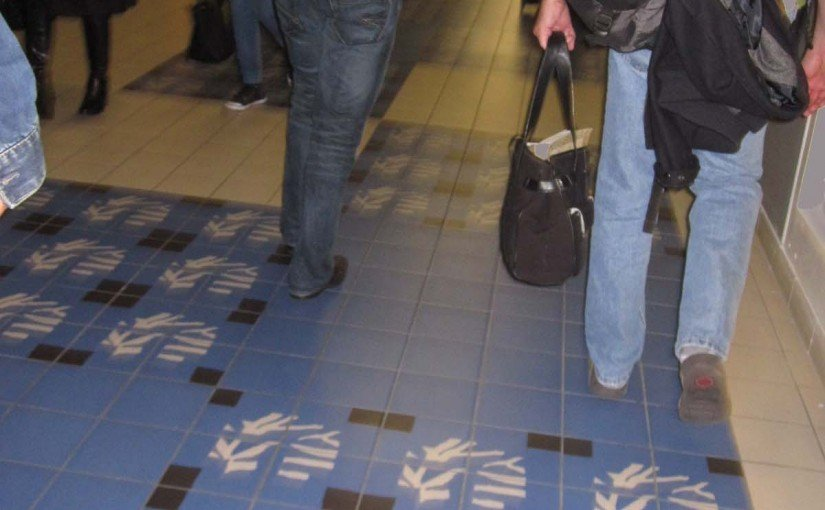 Paris France cement tiles at the airport