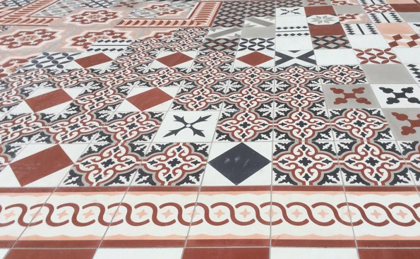 Red and Black Patchwork encaustic cement tile at SLS Las Vegas