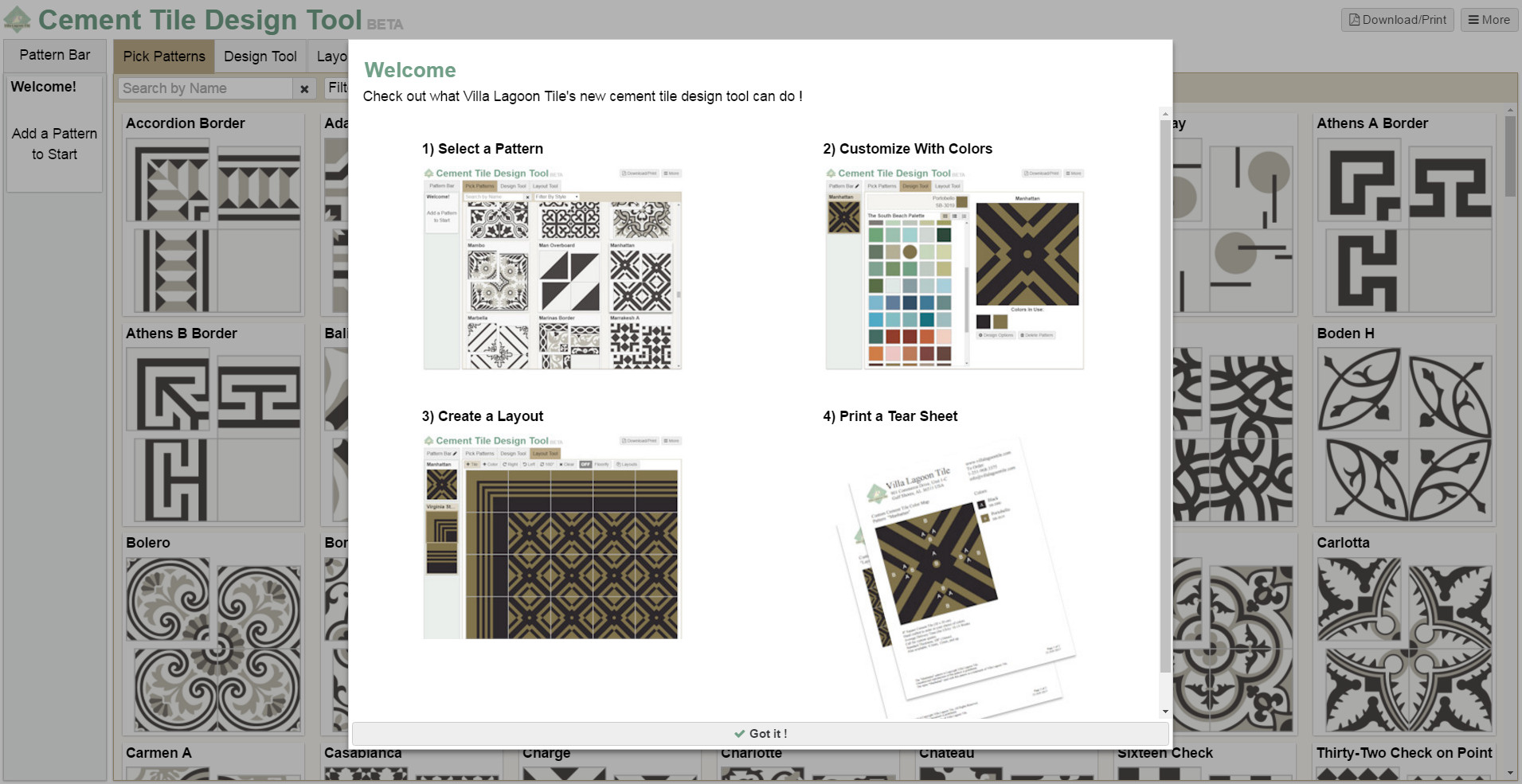 Screenshot of our tile design tool's welcome page.