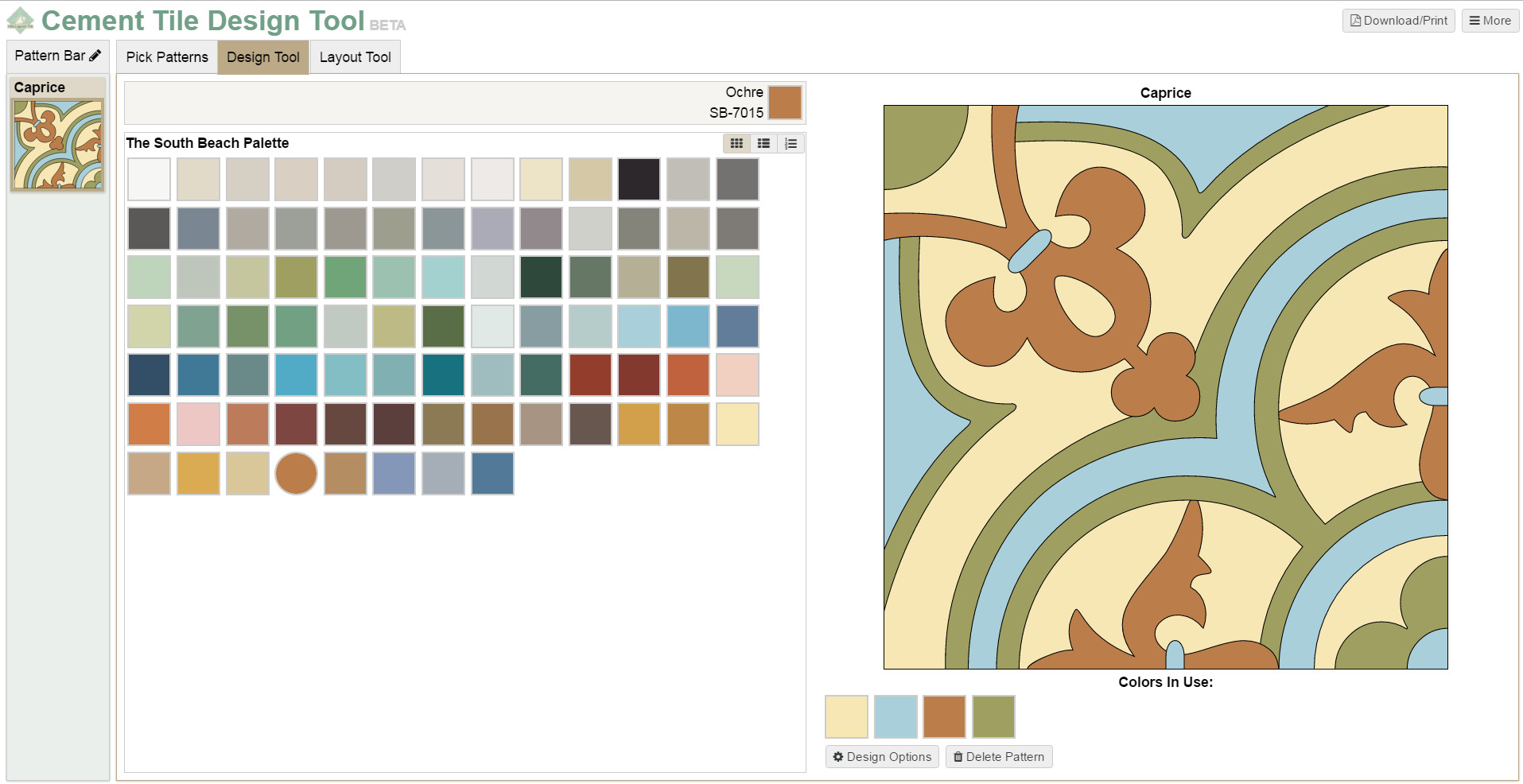 Screenshot of our design tool's color selection/placement page.