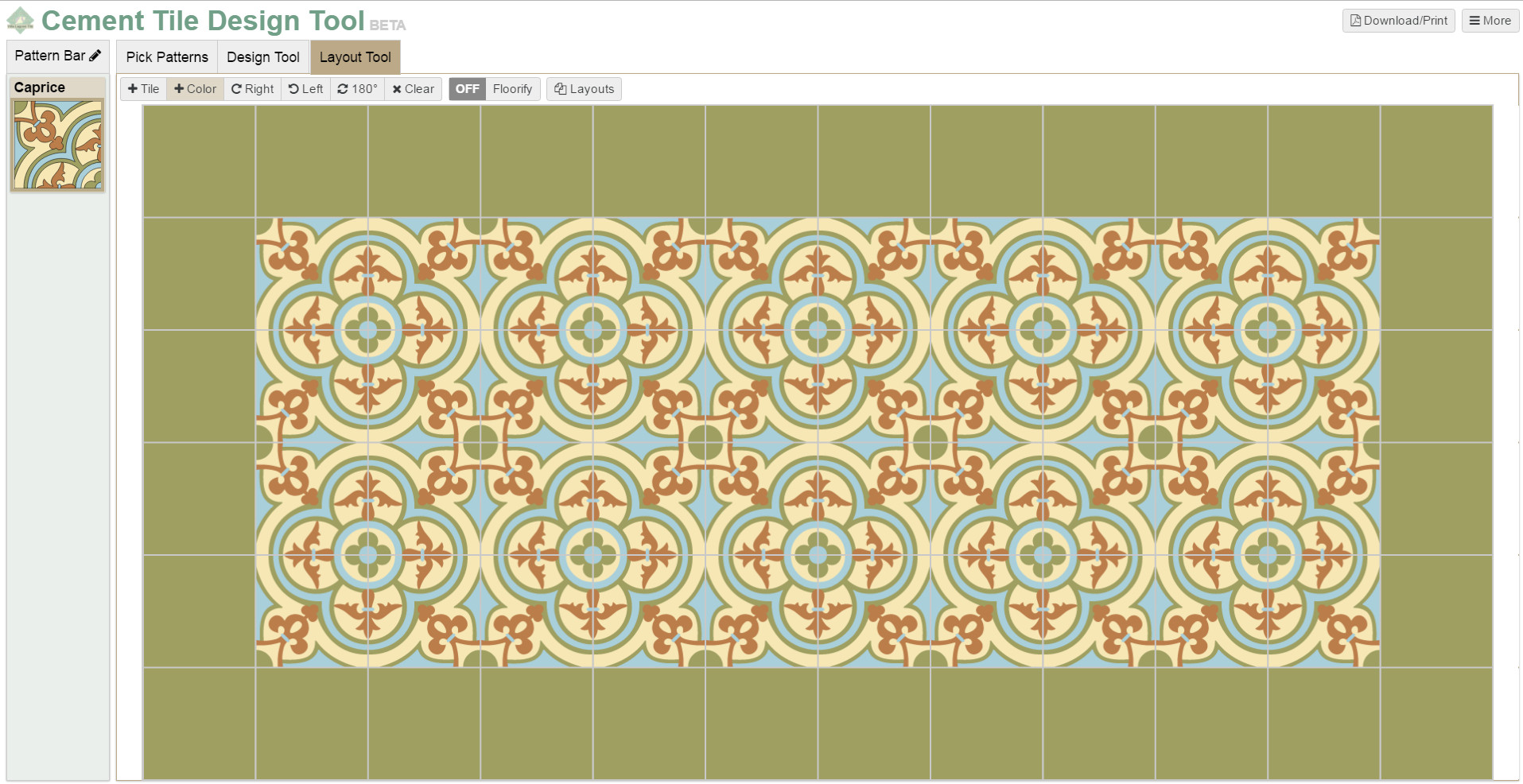 Screenshot of our tile design's layout page featuring patterned and solid cement tile.