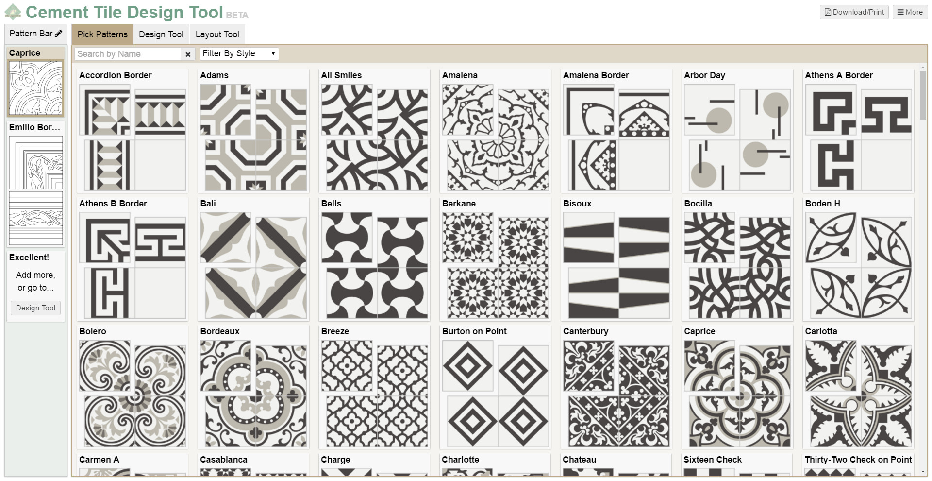 Screenshot of our design tool's pattern page.