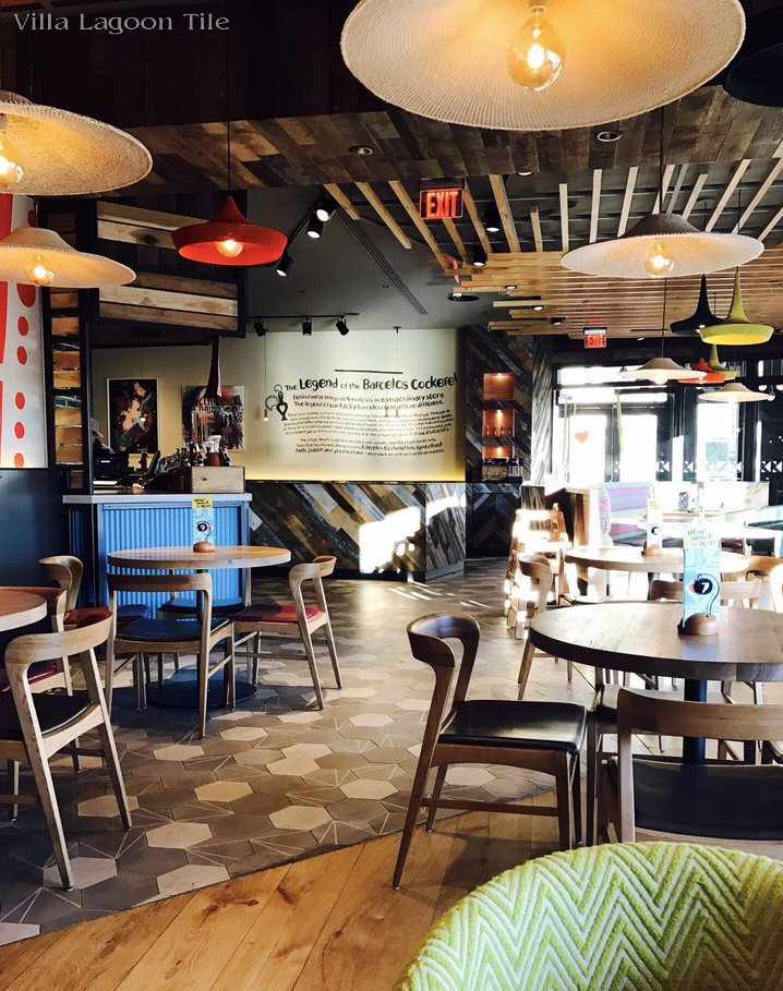 """Crow's Feet"" and Solid Gray Hexagonal Cement Tiles at Nando's Ballston Location in Arlington, VA"