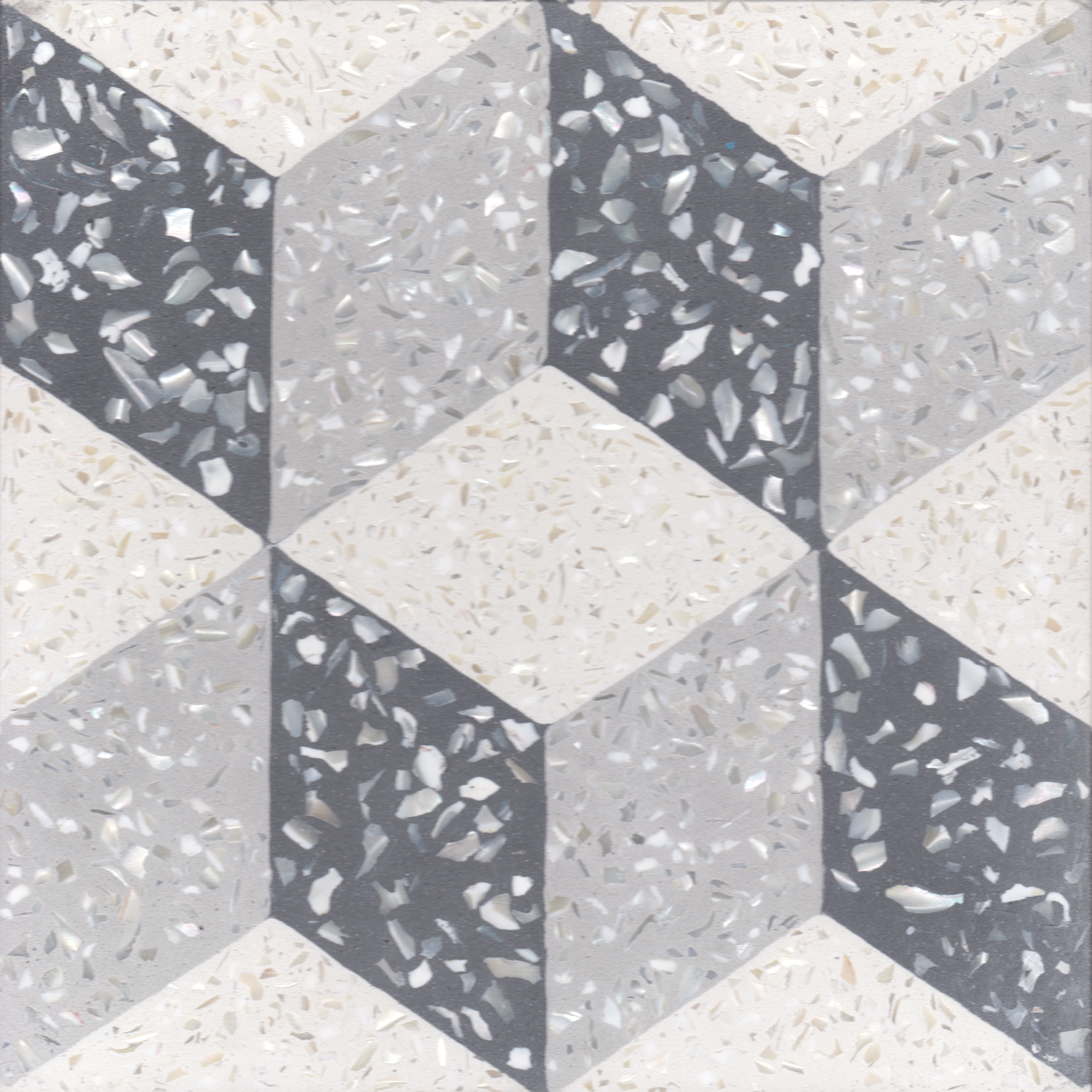 Villa Laggon Tile's Cubes A with mother of pearl terrazzo