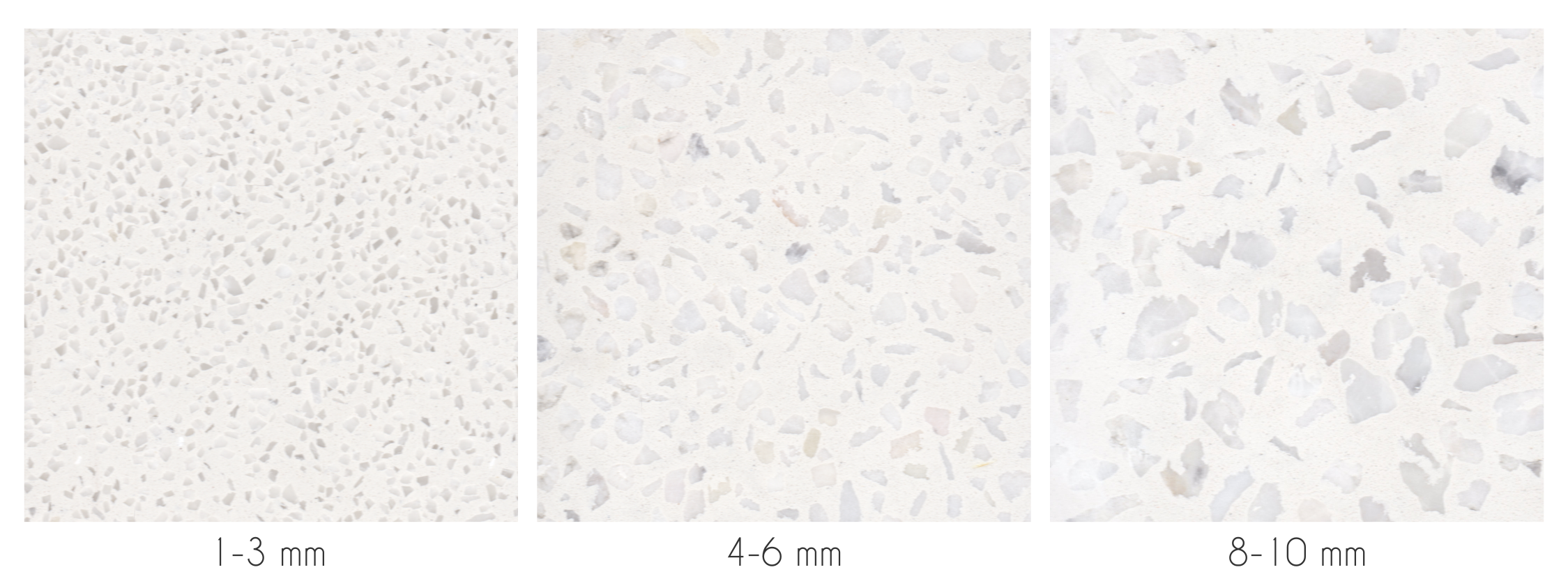 photos showing the different size terrazzo chips available