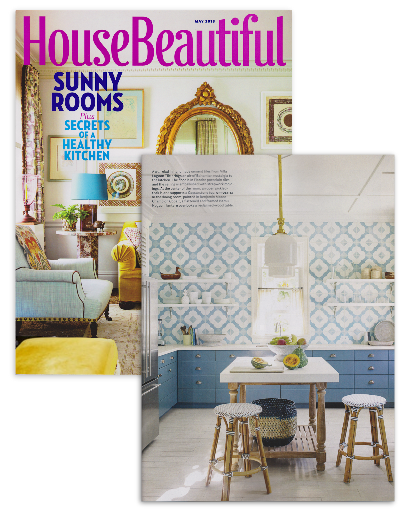 House Beautiful Magazine Cover and interior page from May 2018 featuring Tom Scheerer