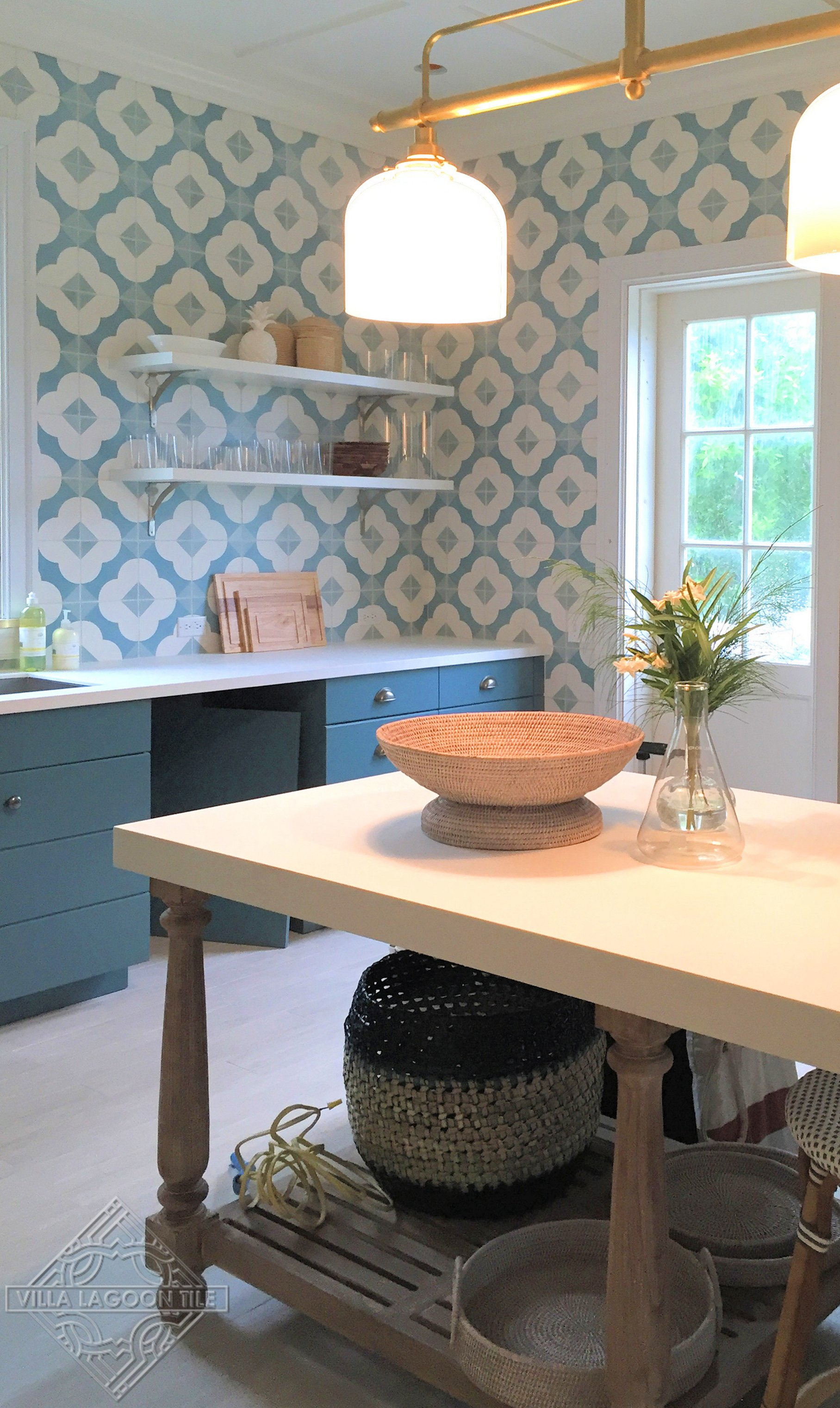 Beautiful kitchen featuring Villa Lagoon Tile's cement tile on the walls