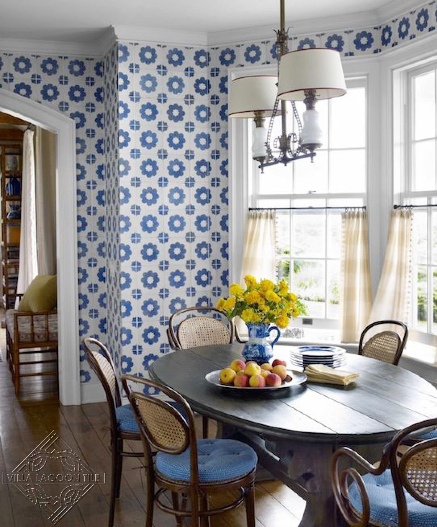 blue and white cement tile on the walls