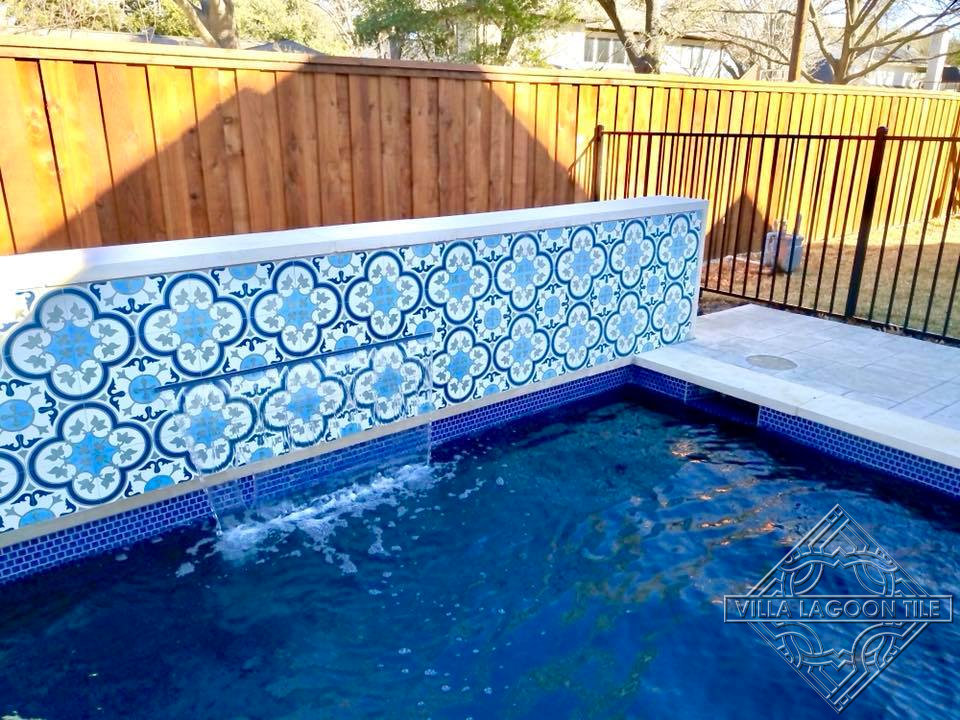 "Pool Fountain wall using our ""Tulips B Ice"" cement Tile"