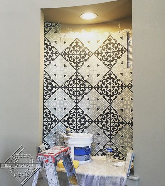Large alcove in progress using our Canterbury Three cement tile.