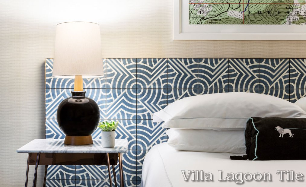 Hotel headboards created using our blue and white Props cement tile.