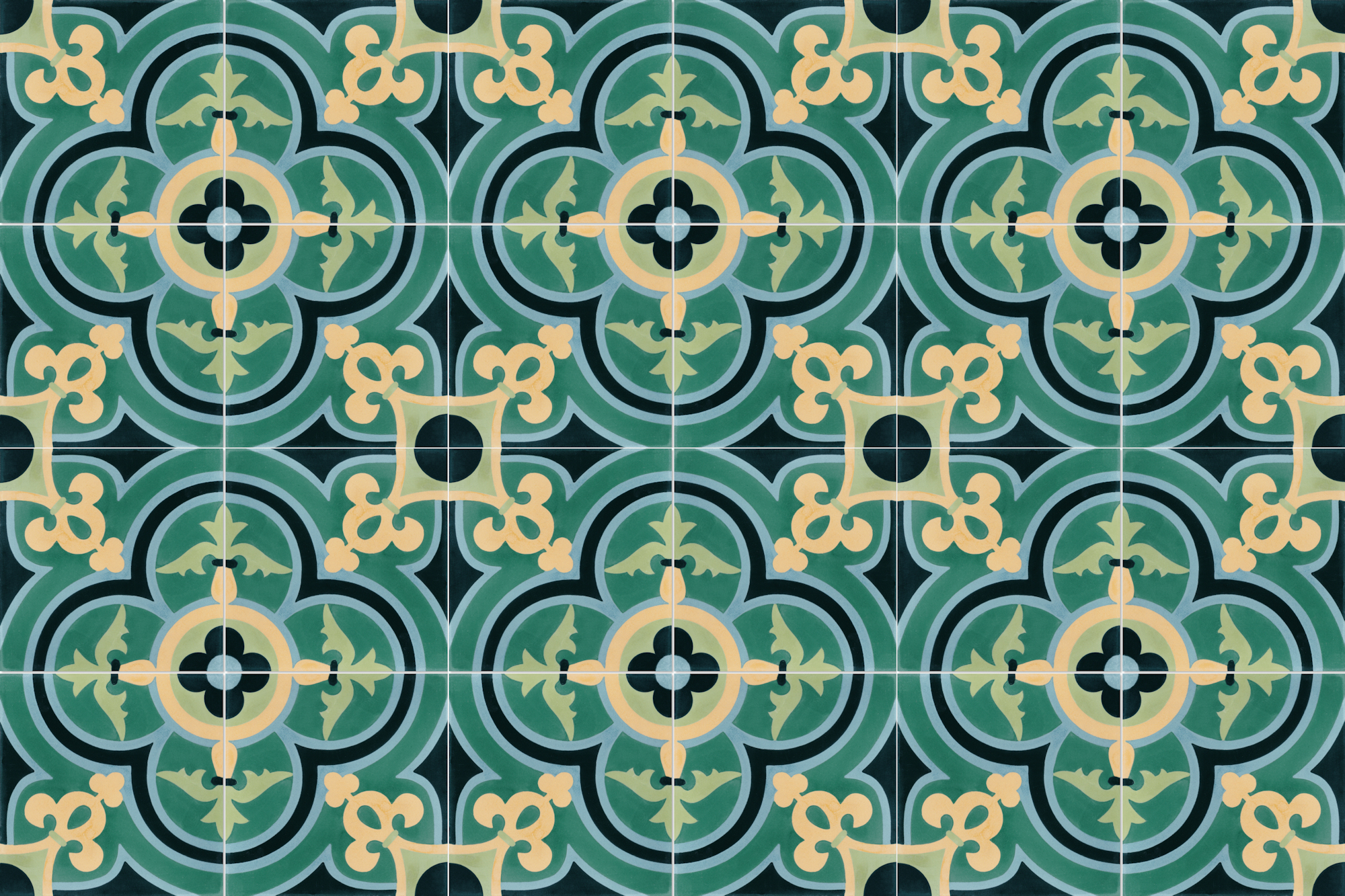 layout of 24 green and yellow french inspired cement tiles