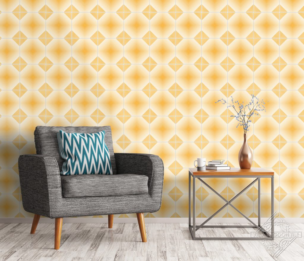 Vivid yellow living room wall.