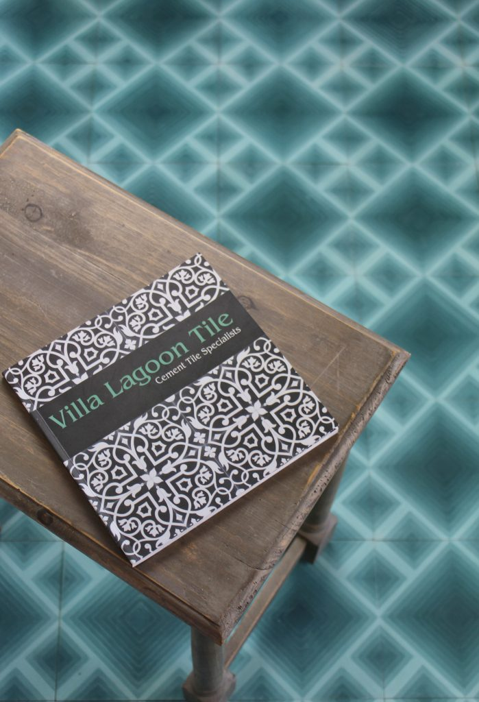 "Villa Lagoon Tile's ""Jibe"" pattern in a Nile Blue Ombré."