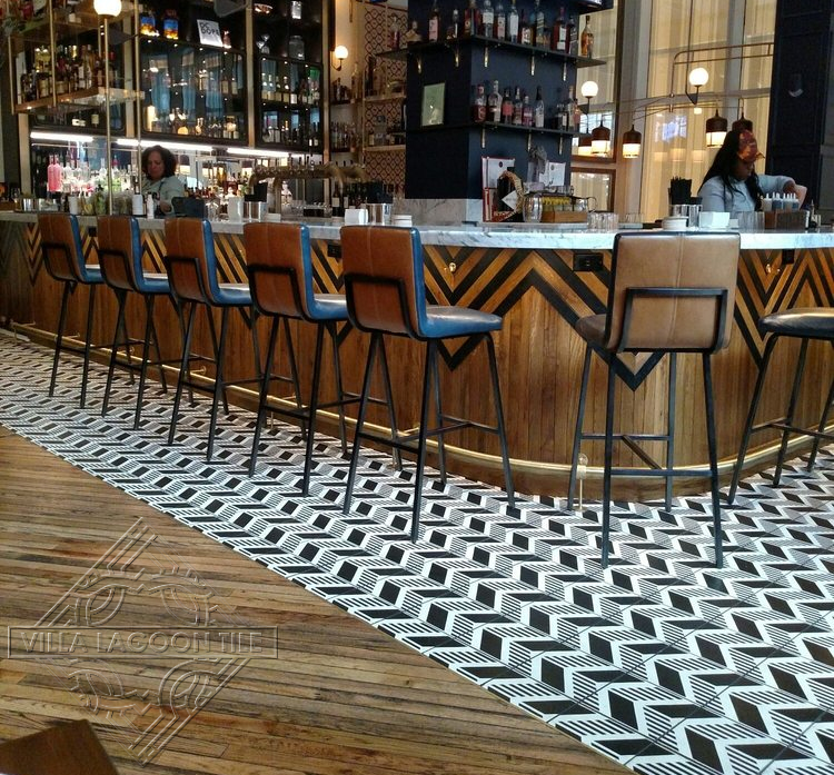 Restaurant floor featuring our original chevron patterned cement tile.