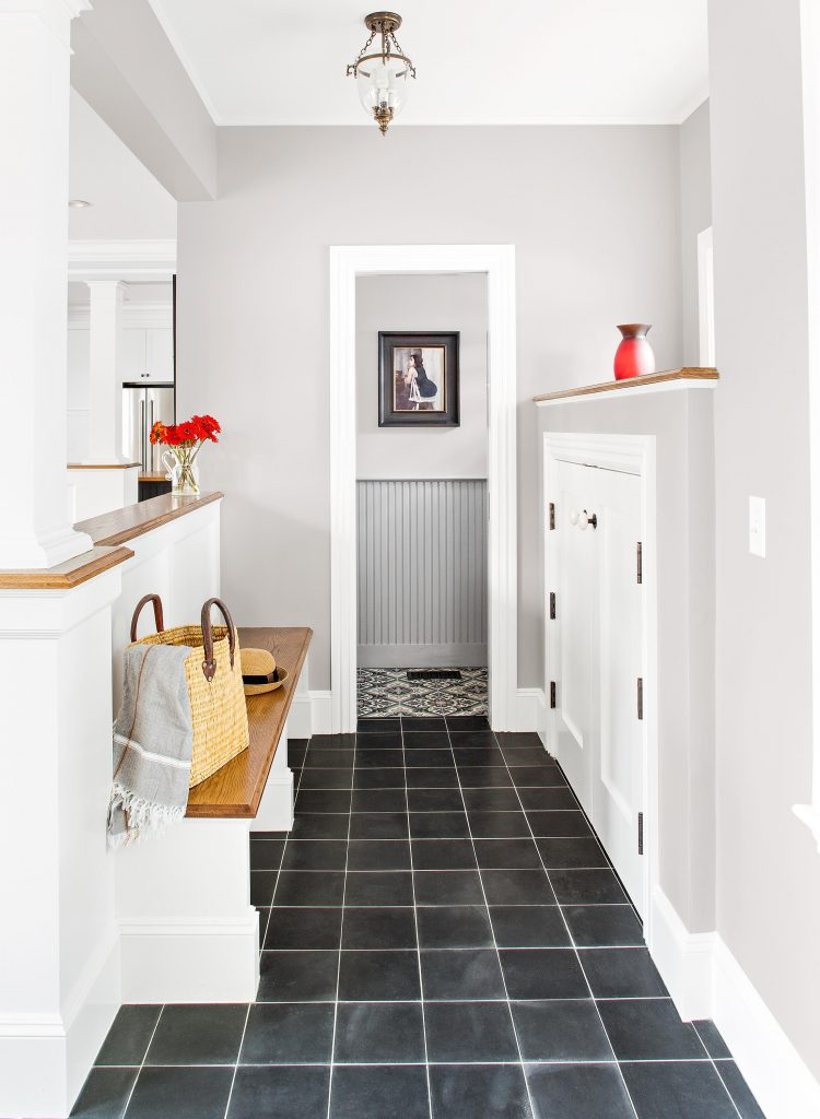 Solid black cement tile entryway
